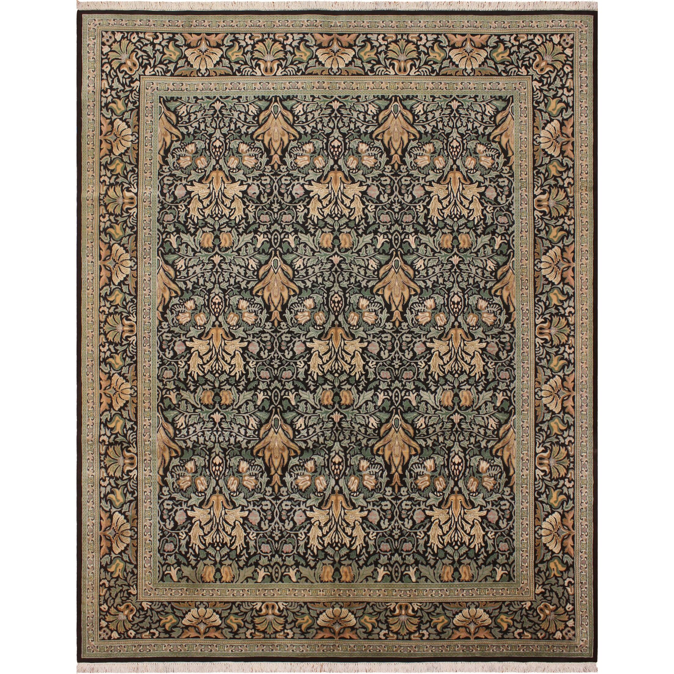 One-of-a-Kind Mulhall Hand-Knotted Wool Black/Green Area Rug Rug Size: Rectangle 8' x 10'2