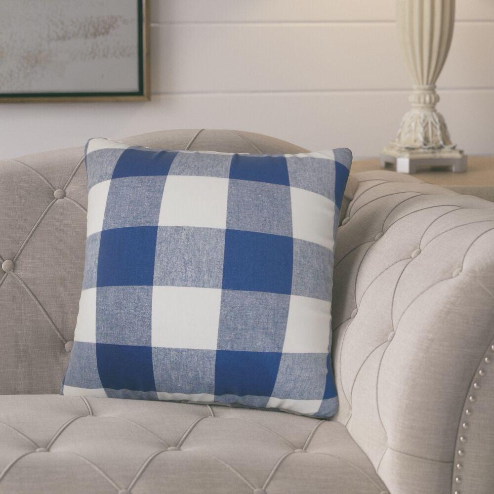 Corene 100% Cotton Throw Pillow Color: Natural Blue, Size: 24
