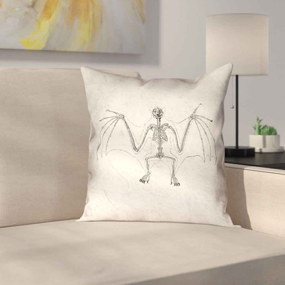 Vintage Bat Skeleton Double Sided Throw Pillow Size: 16