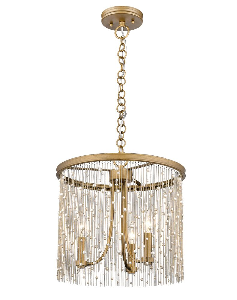 Latrell 3-Light Drum Chandelier Color: Pearl Beads