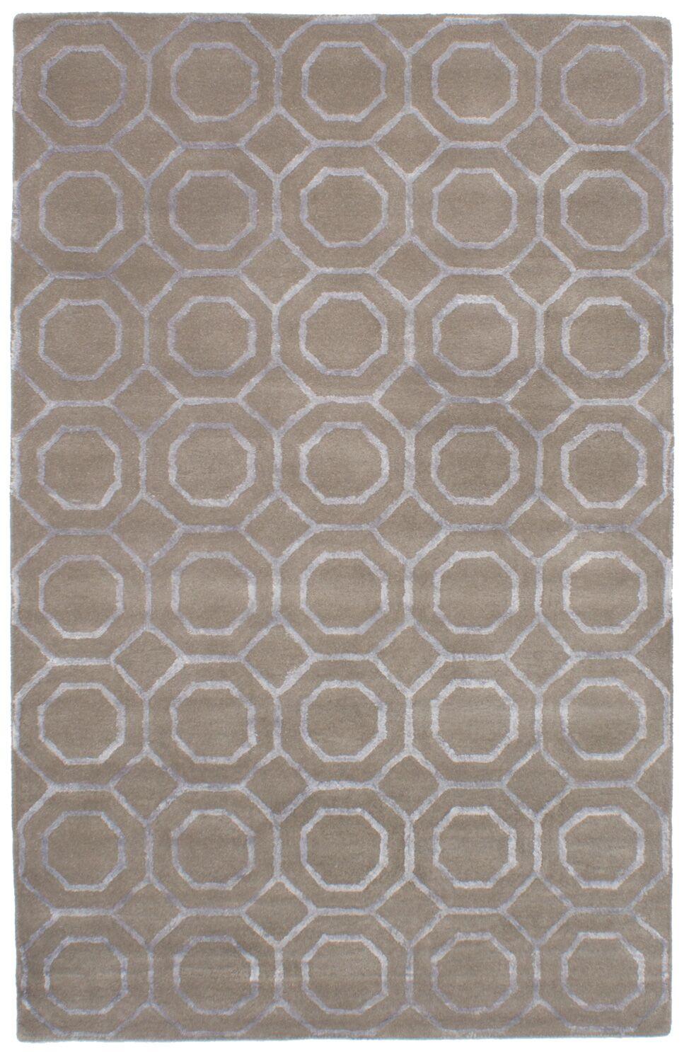 Griffing Hand-Tufted Wool/Silk Dark Khaki Area Rug