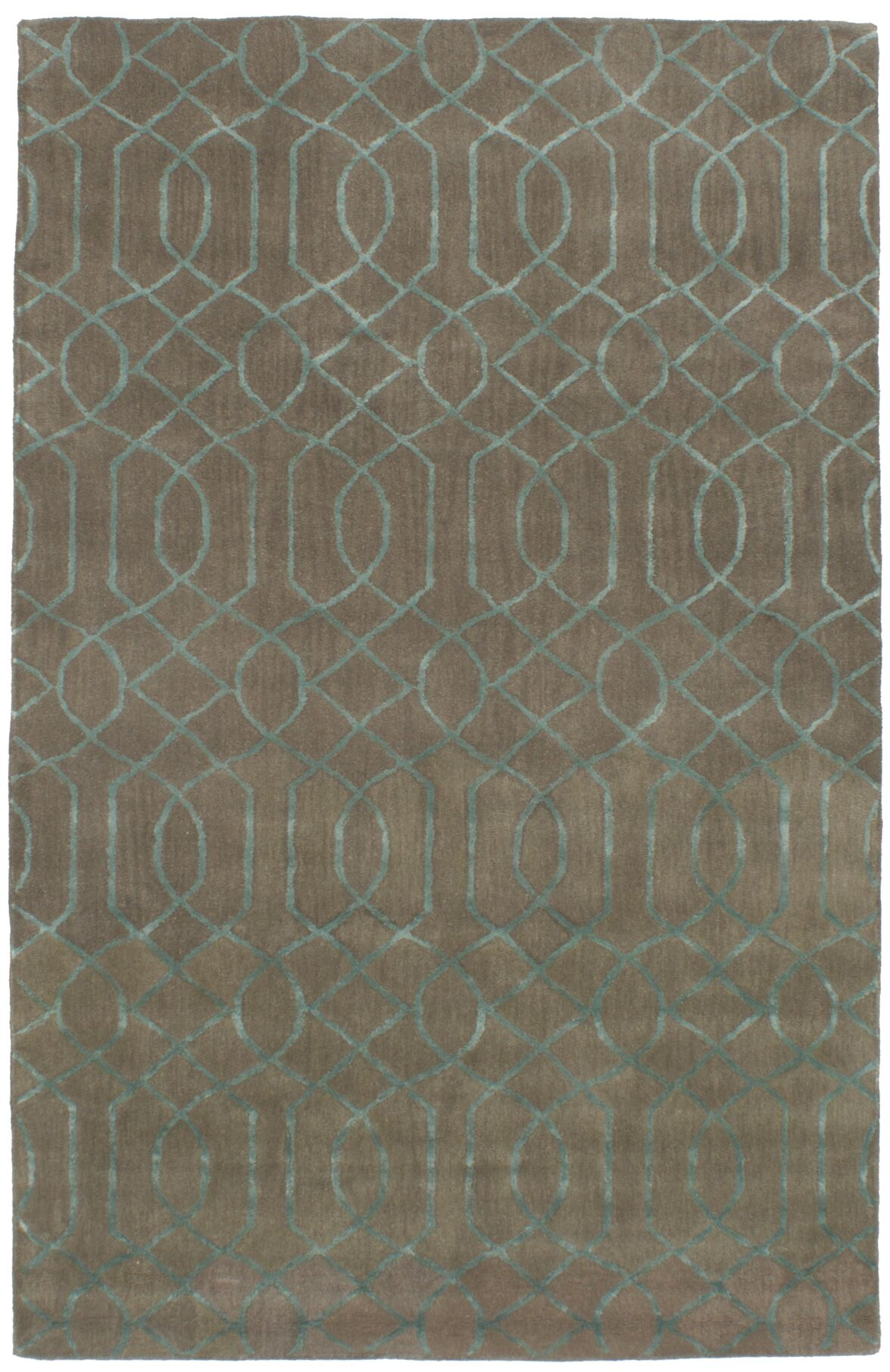 Griffing Hand-Tufted Wool/Silk Khaki/Turquoise Area Rug