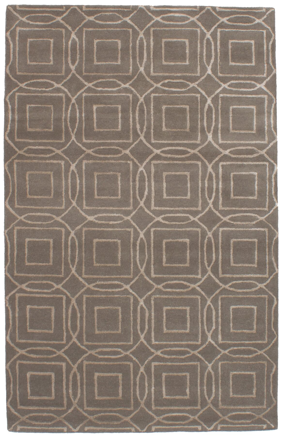 Griffing Hand-Tufted Wool/Silk Dark Gray Area Rug