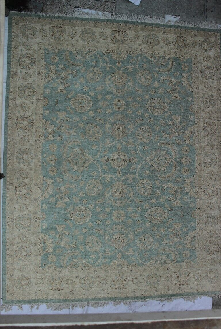 One-of-a-Kind Catharine Hand-Knotted Wool Blue/Beige Area Rug