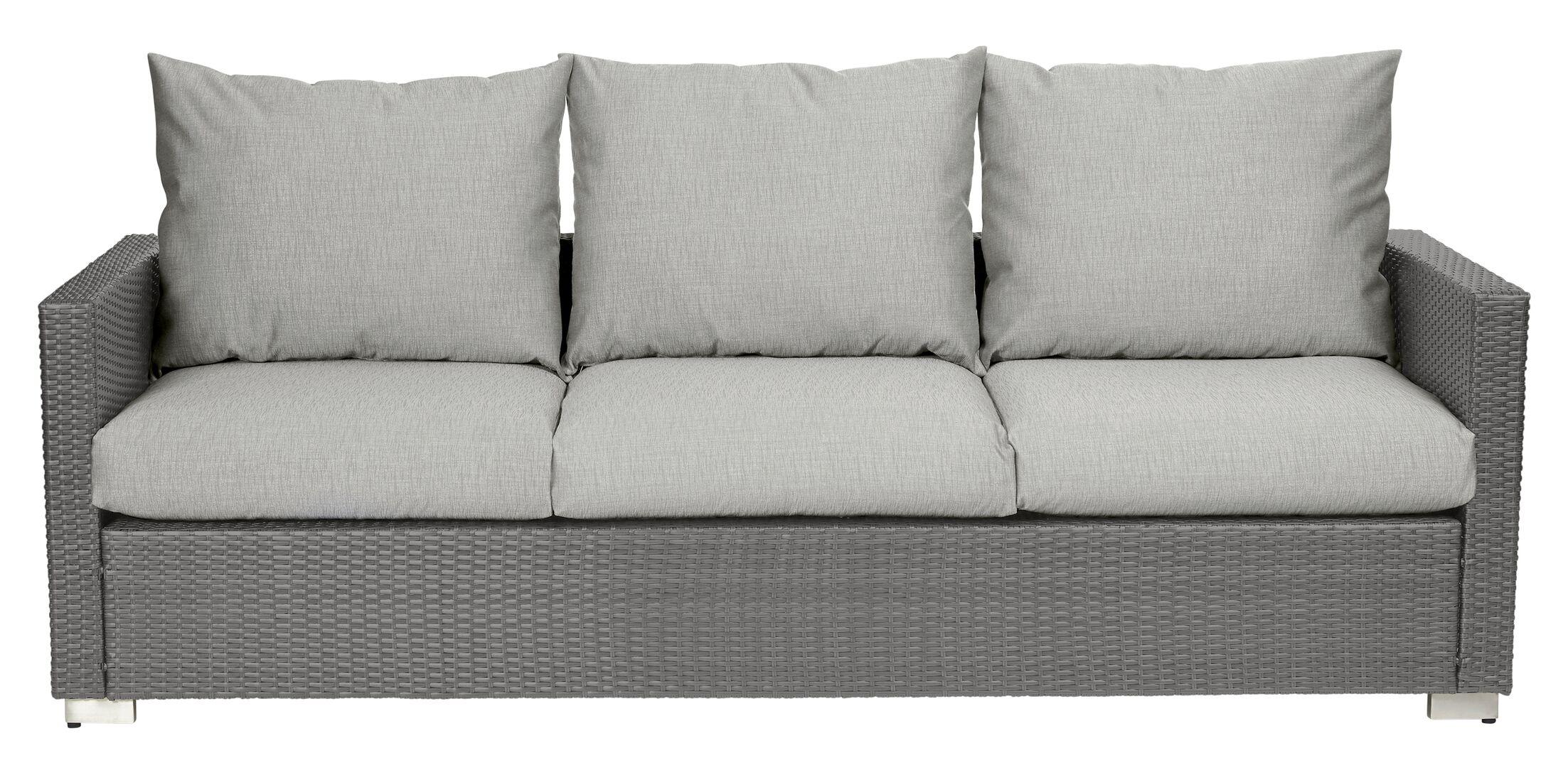 Mcmanis Patio Sofa with Cushion Cushion Color: Taupe, Frame Color: Smoke Gray