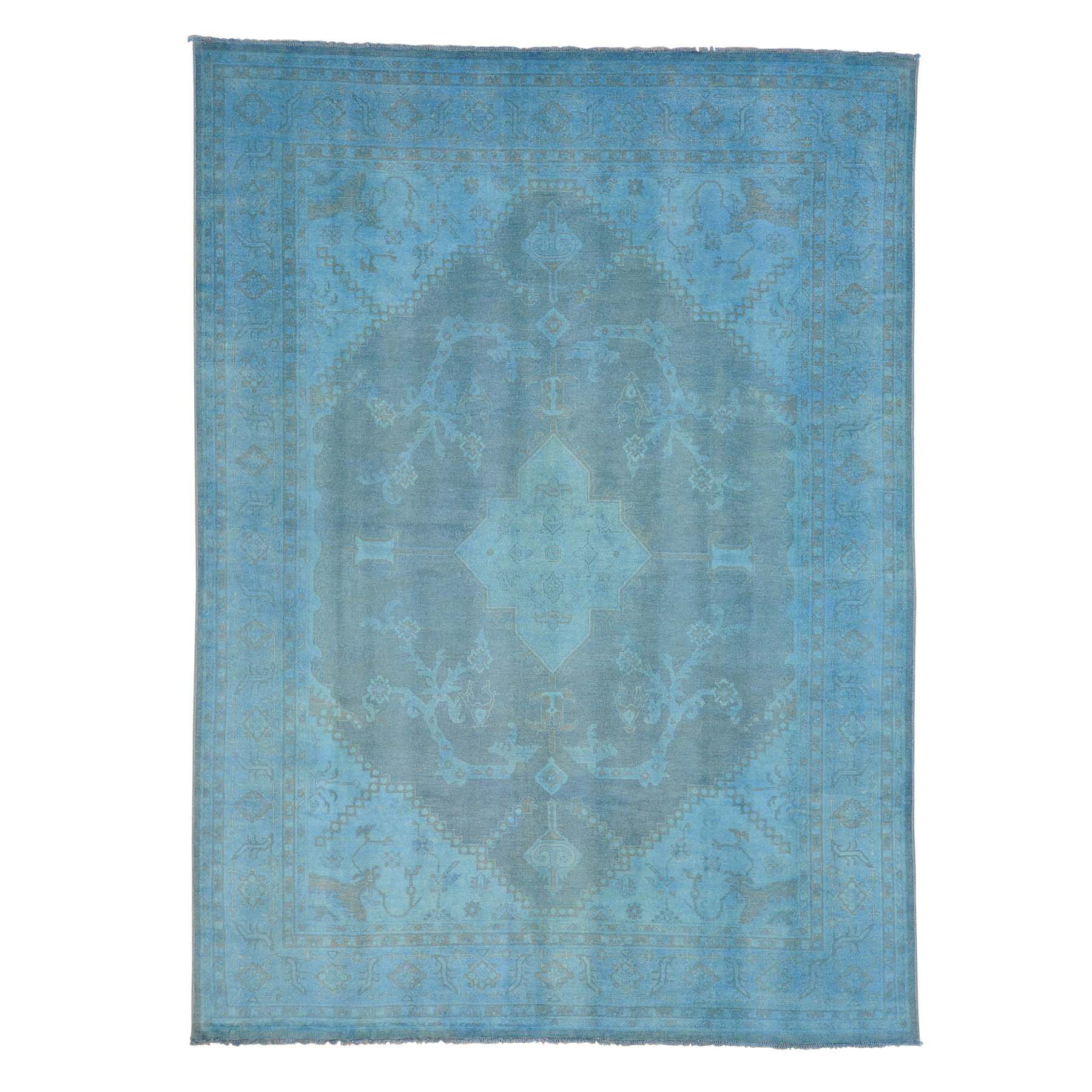 One-of-a-Kind Damian Overdyed Hand-Knotted Blue Area Rug