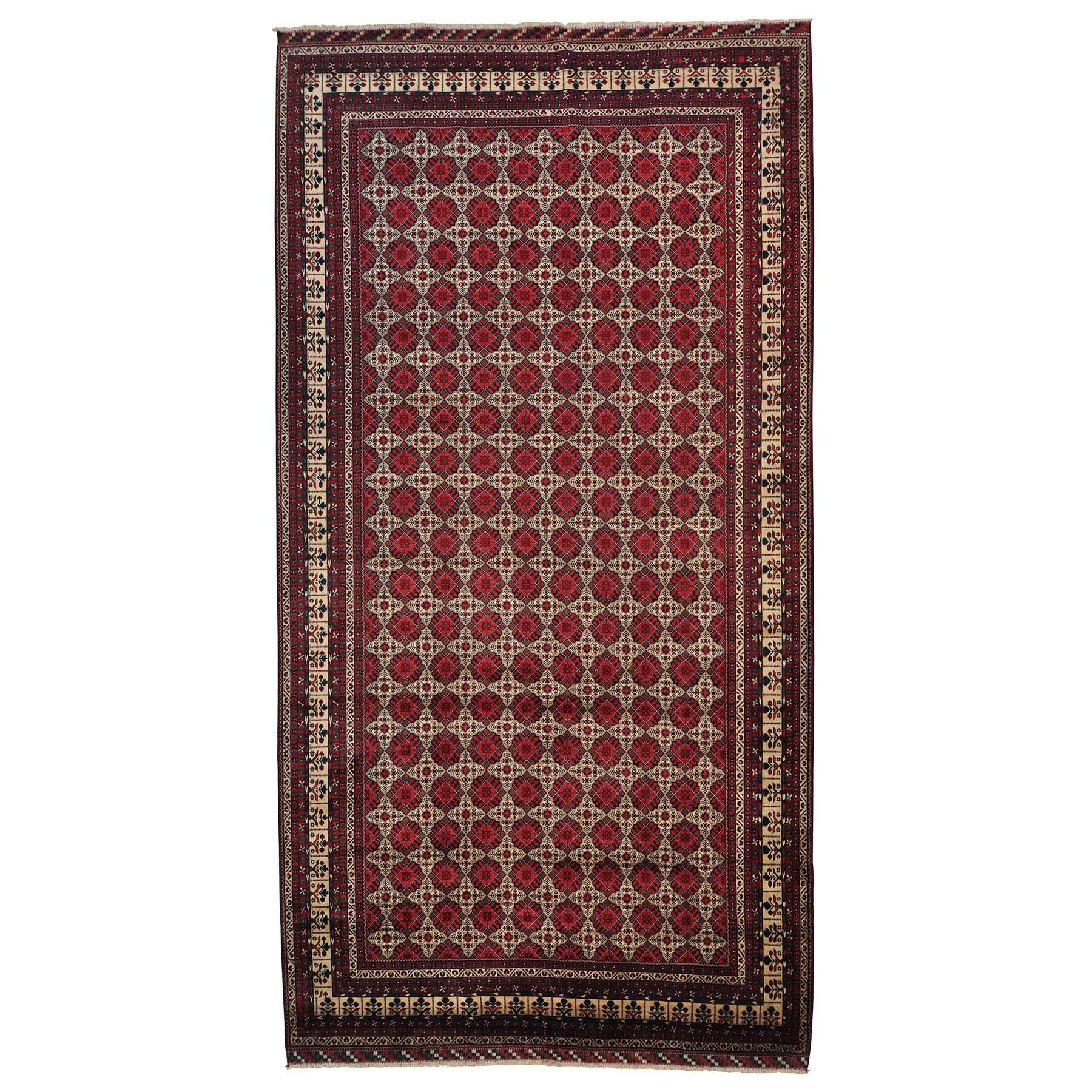 One-of-a-Kind Gallery Afghan Khamyab Hand-Knotted Ivory/Red Area Rug