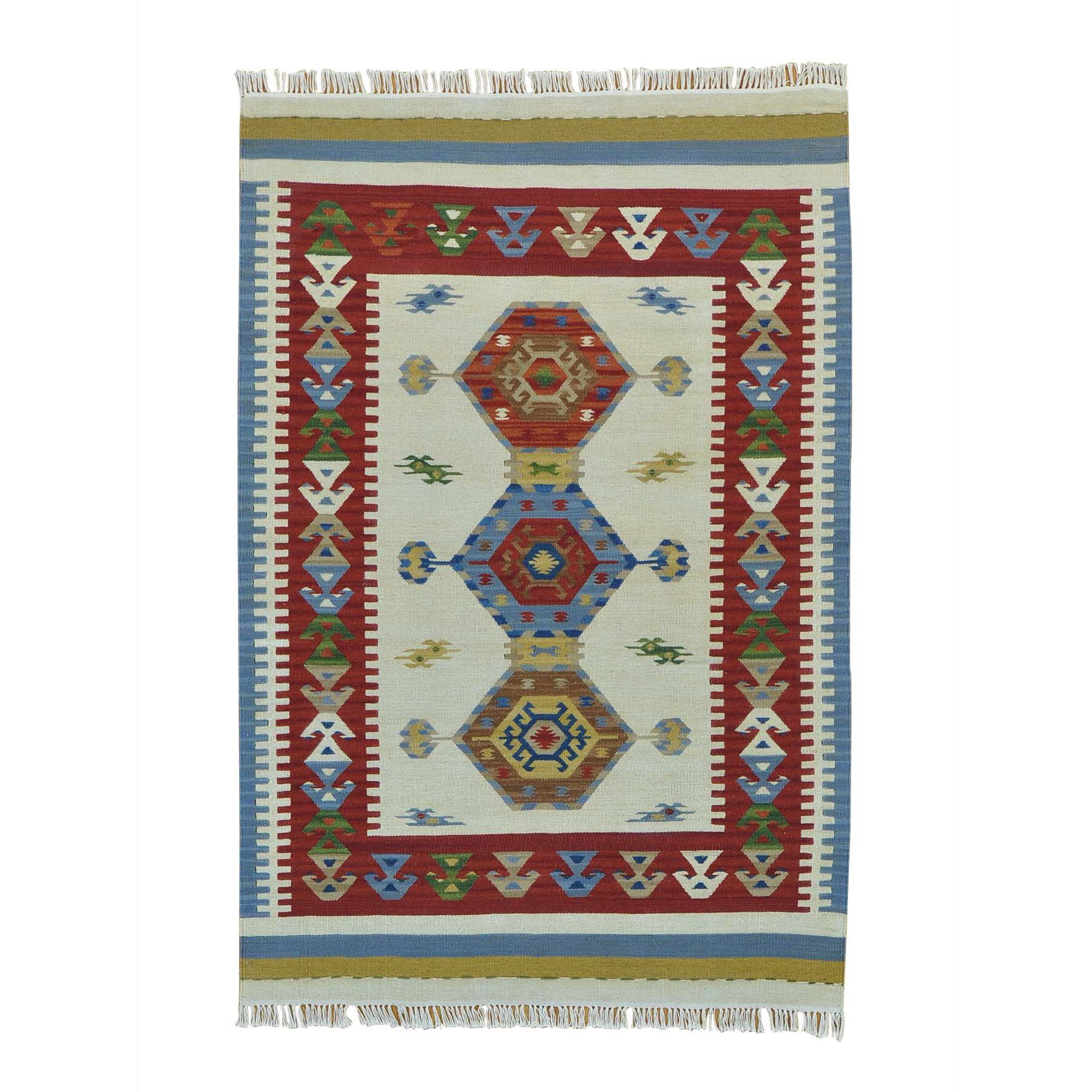One-of-a-Kind Anatolian Kilim Flat Weave Hand-Knotted Ivory Area Rug