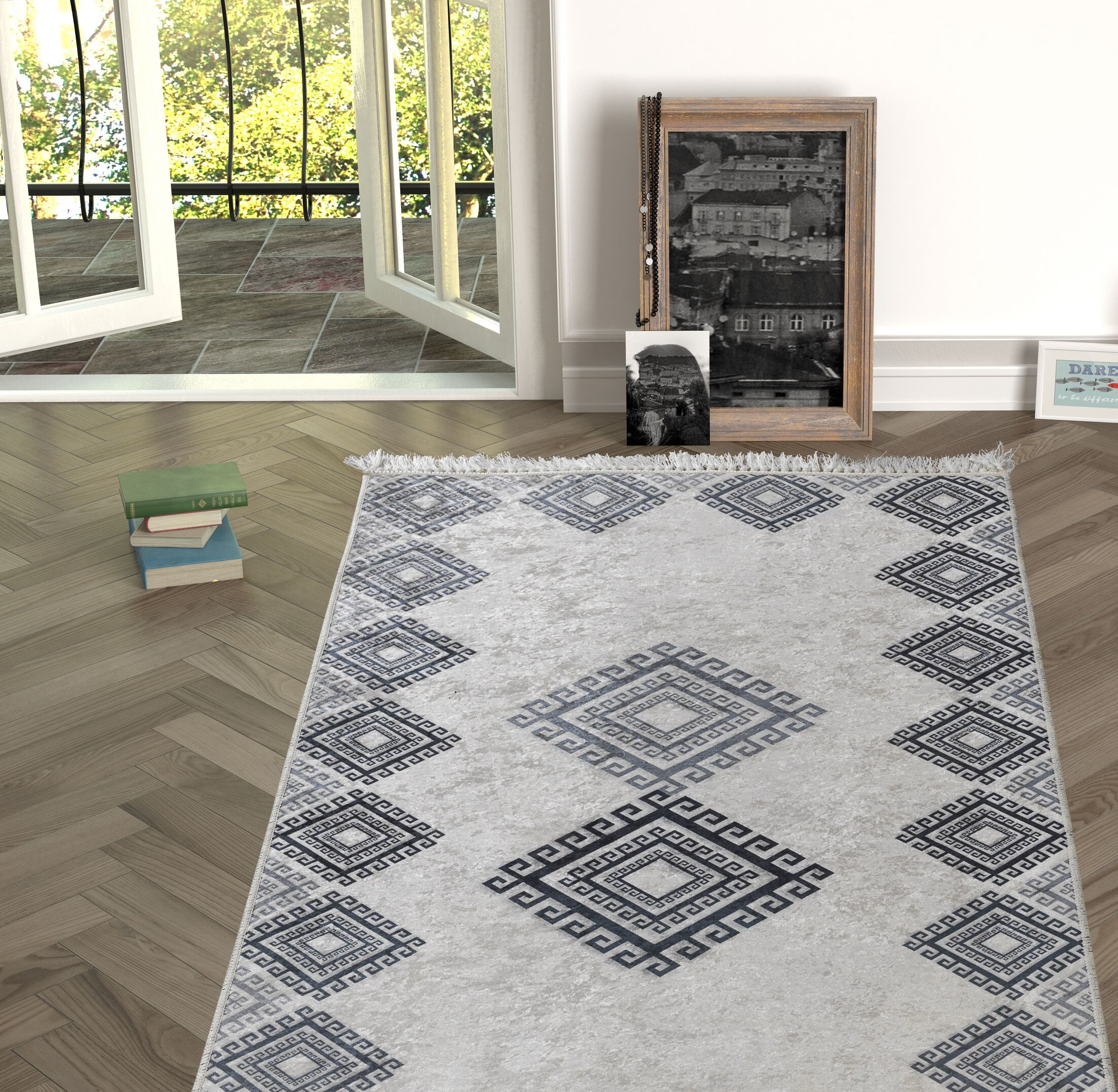 Longworth Black/Gray Indoor/Outdoor Area Rug Size: Rectangle 5'3