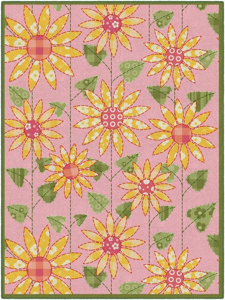Olney Flower Pink/Orange Area Rug Rug Size: Rectangle 7'6
