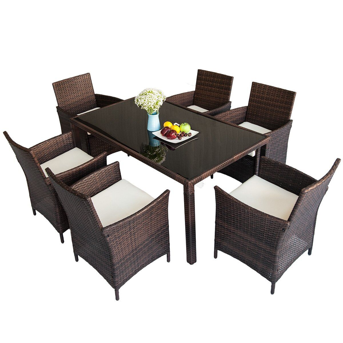 Nasser Outdoor 7 Piece Dining Set with Cushions