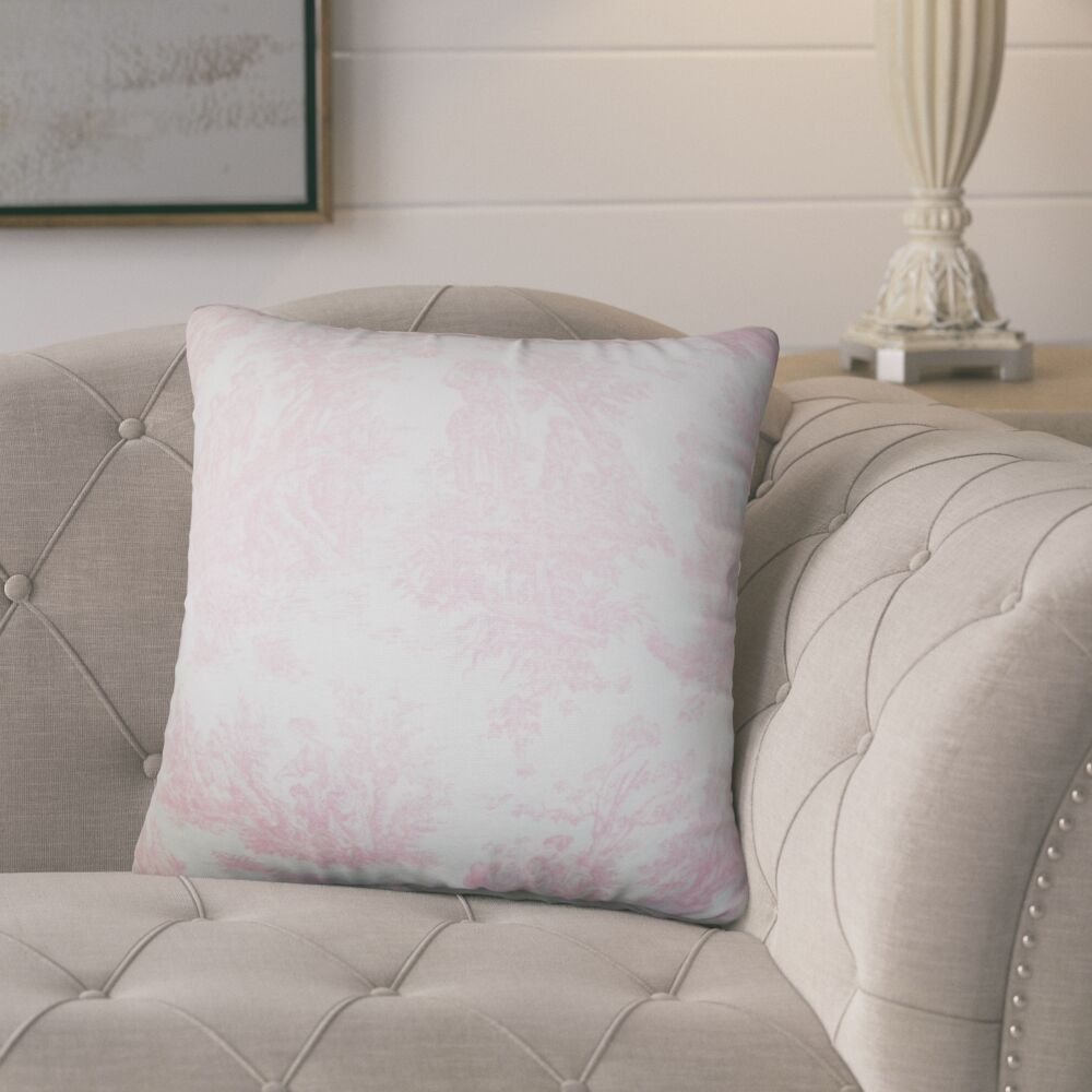 Andruska Toile Cotton Throw Pillow Color: Baby Pink