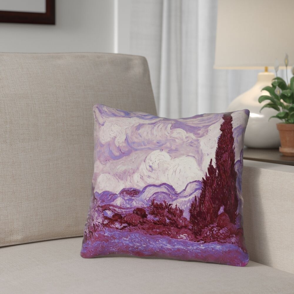 Lapine Mauve Wheatfield with Cypresses Square Linen Pillow Cover Size: 26