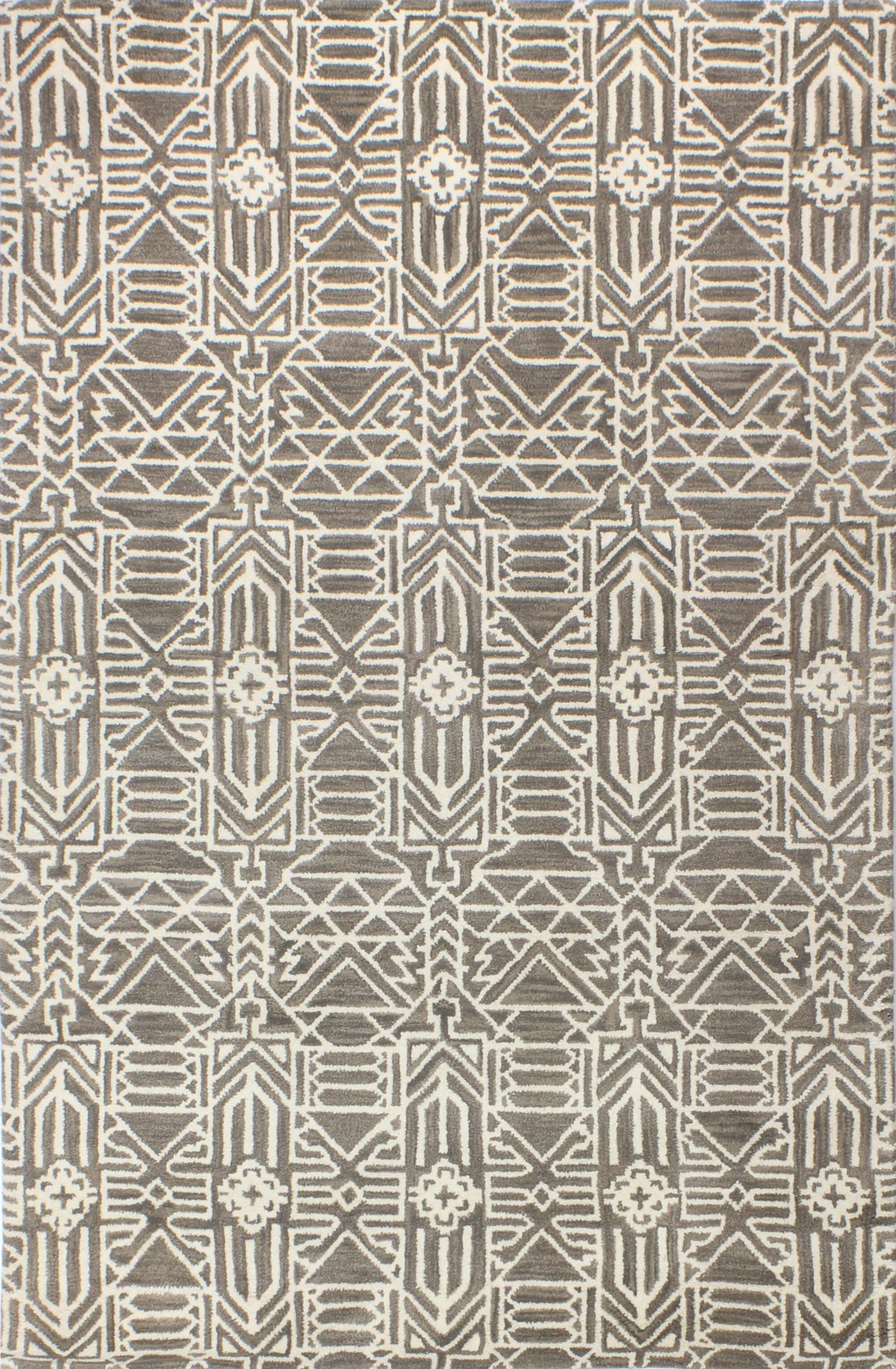 Lonergan Hand-Woven Wool Taupe Area Rug Rug Size: Rectangle 7'6