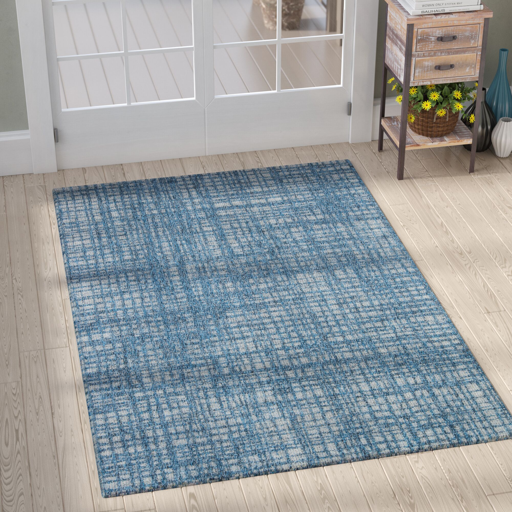 Milivoje Blue Abstract Area Rug Rug Size: Rectangle 9'10