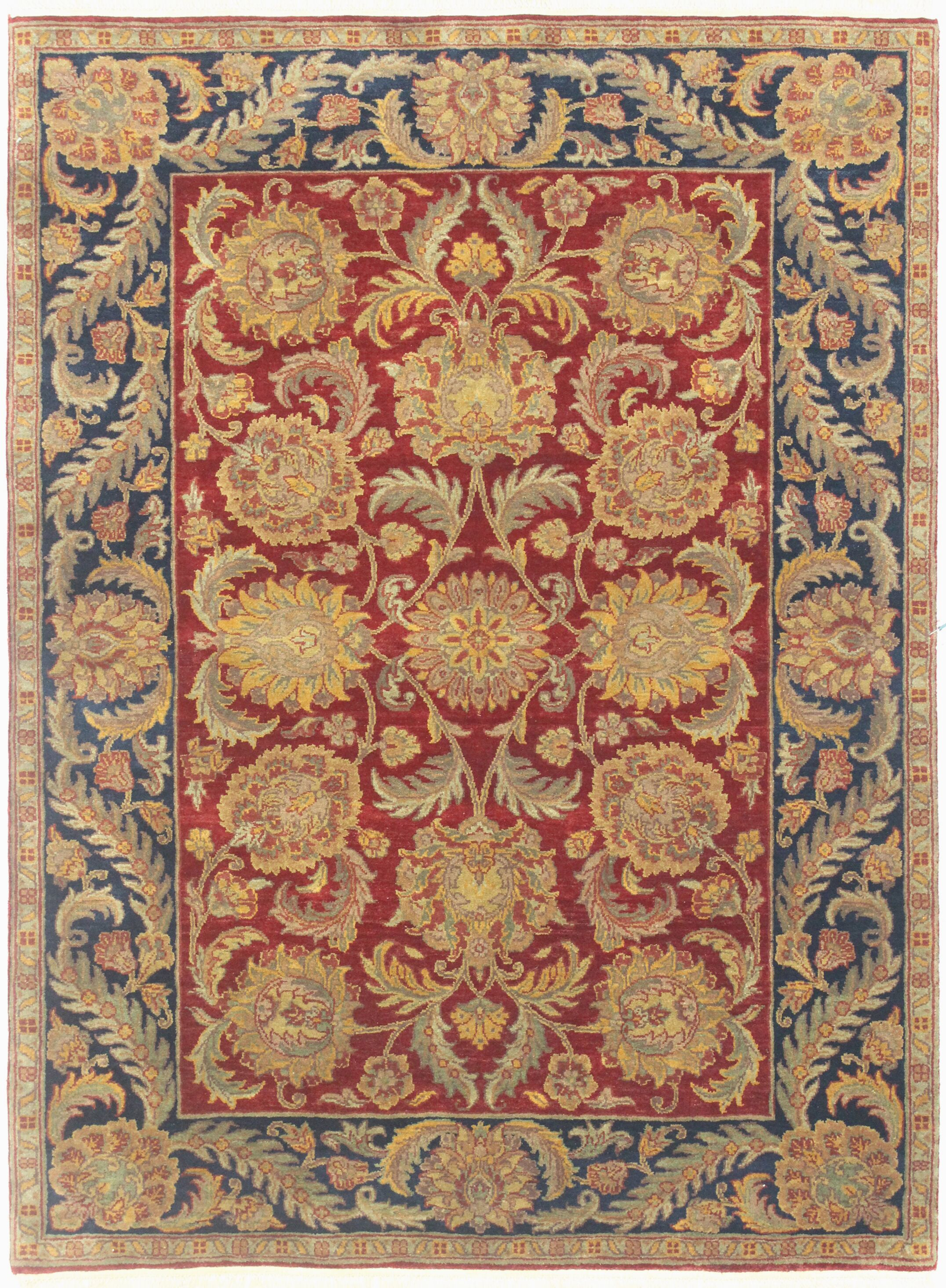 One-of-a-Kind Hand-Woven Wool Red/Blue Area Rug