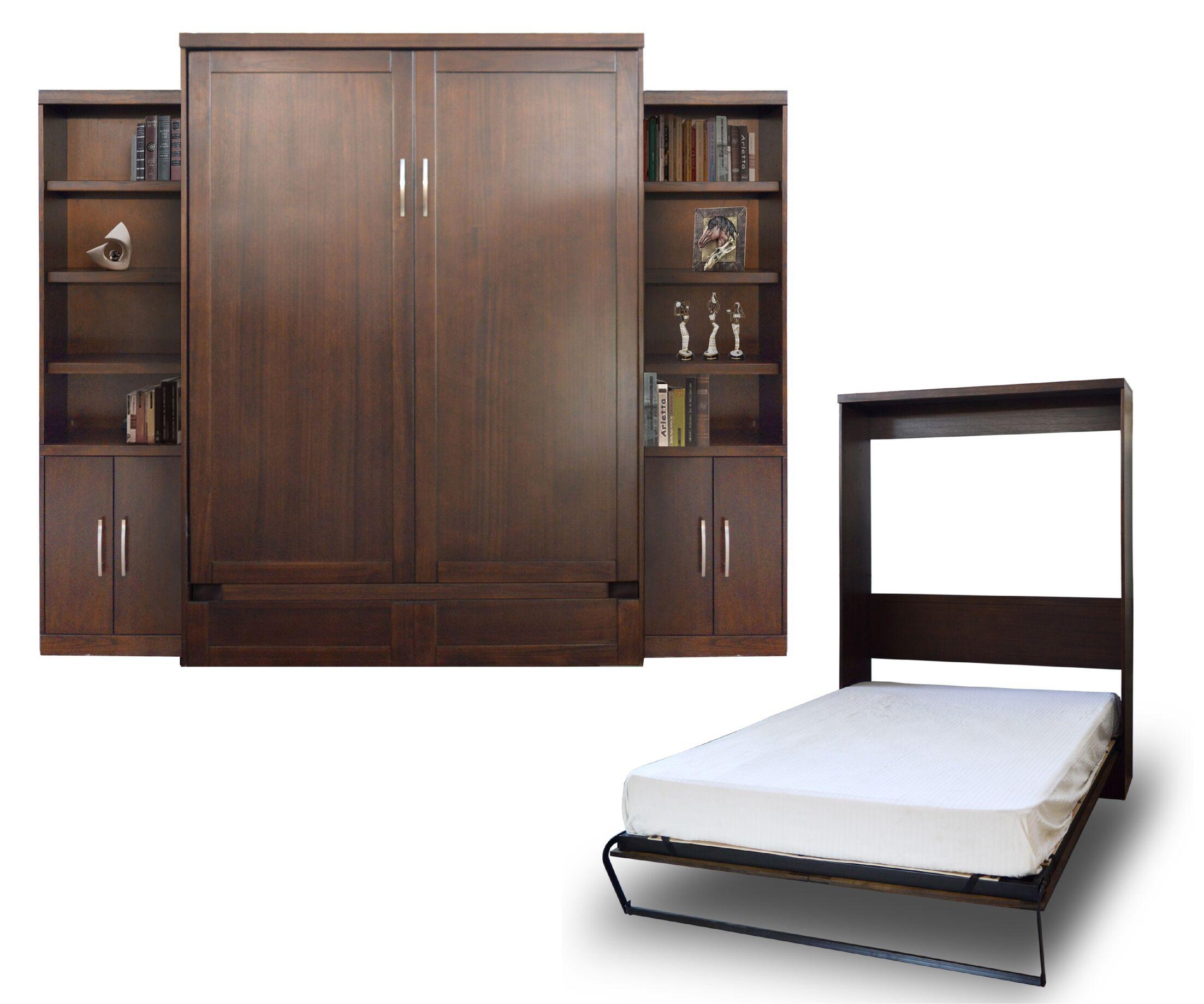 Quinn Queen Murphy Bed with 2 Door Bookcase