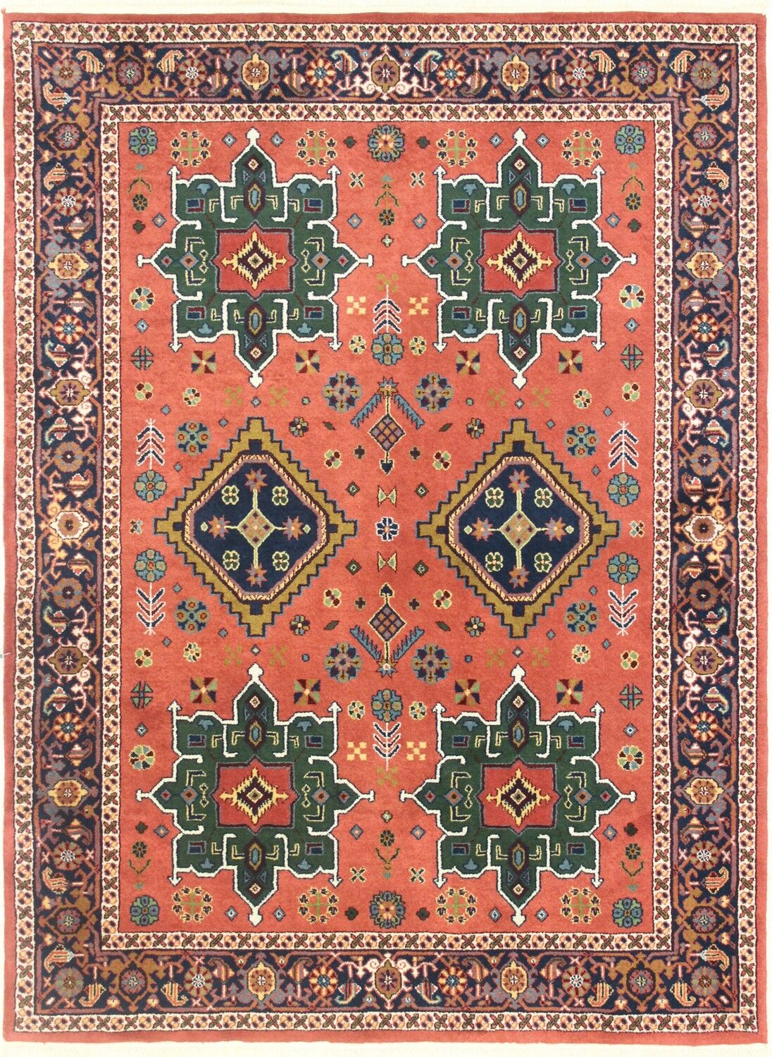 One-of-a-Kind Hand-Woven Wool Rust/Green Area Rug