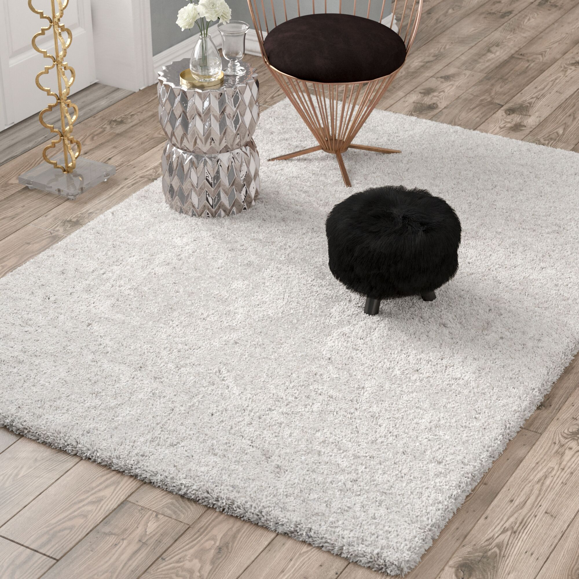 Otley White/Light Gray Area Rug Rug Size: Square 5'3