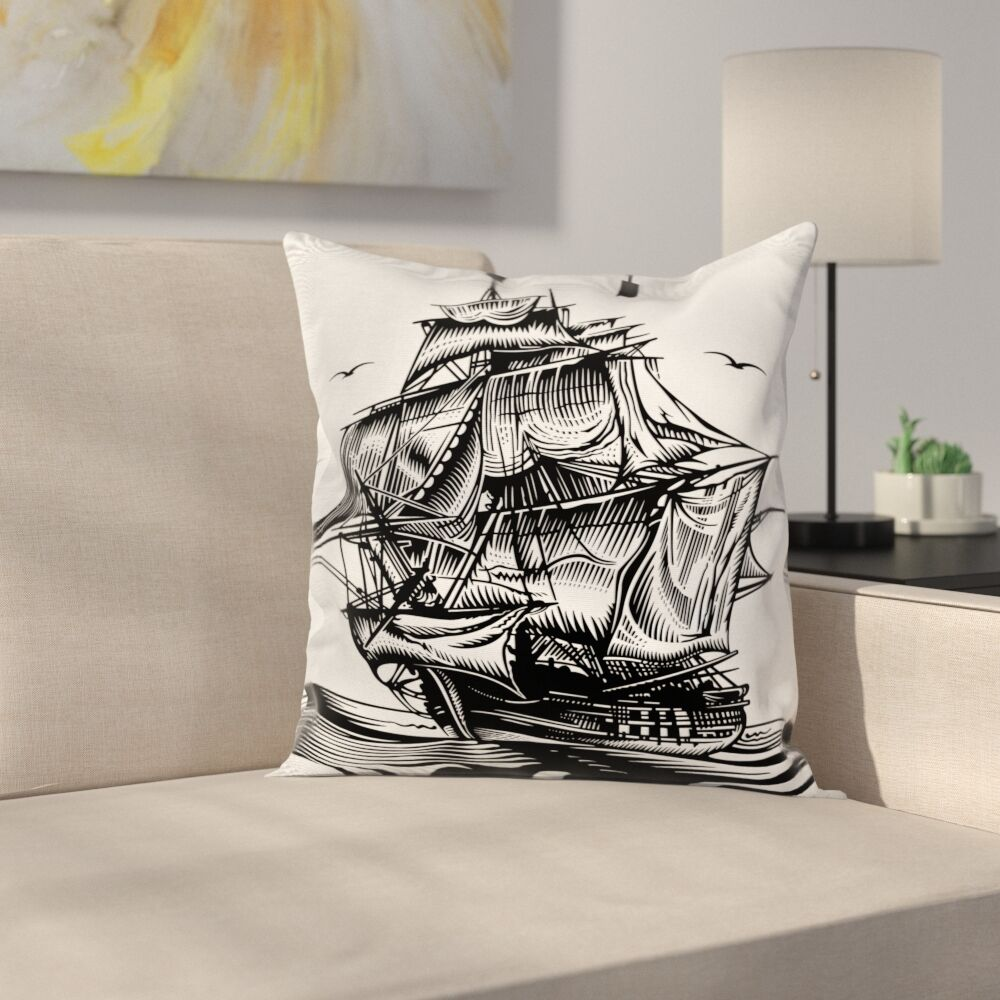 Pirate Ship Nautical Line Art Square Cushion Pillow Cover Size: 16