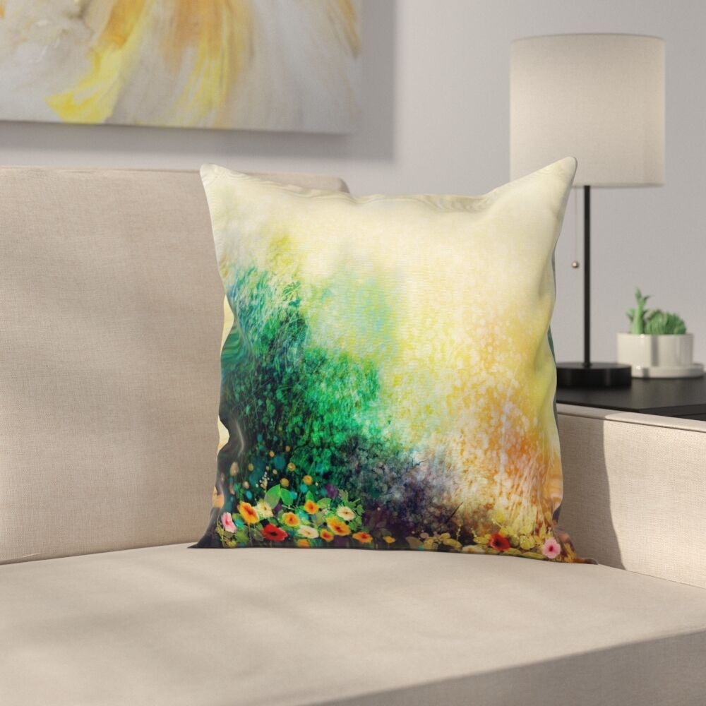 Floral Wild Flowers on Meadow Square Pillow Cover Size: 24