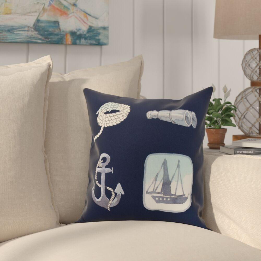 Crider Sea Tools Print Indoor/Outdoor Throw Pillow Color: Navy, Size: 16