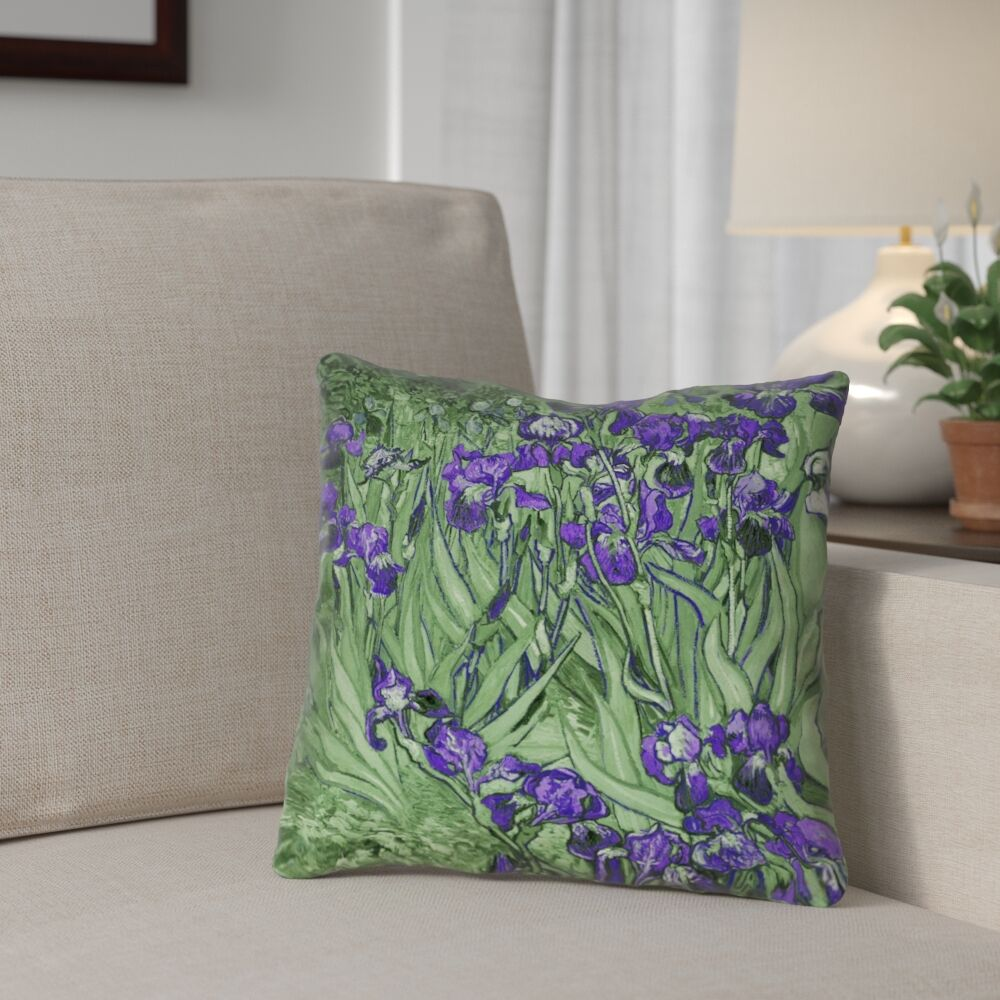 Morley Irises Square 100% Cotton Pillow Cover Size: 14