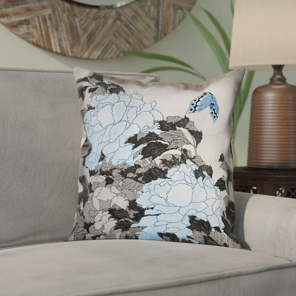 Clair Peonies and Butterfly Square Linen Pillow Cover Size: 26