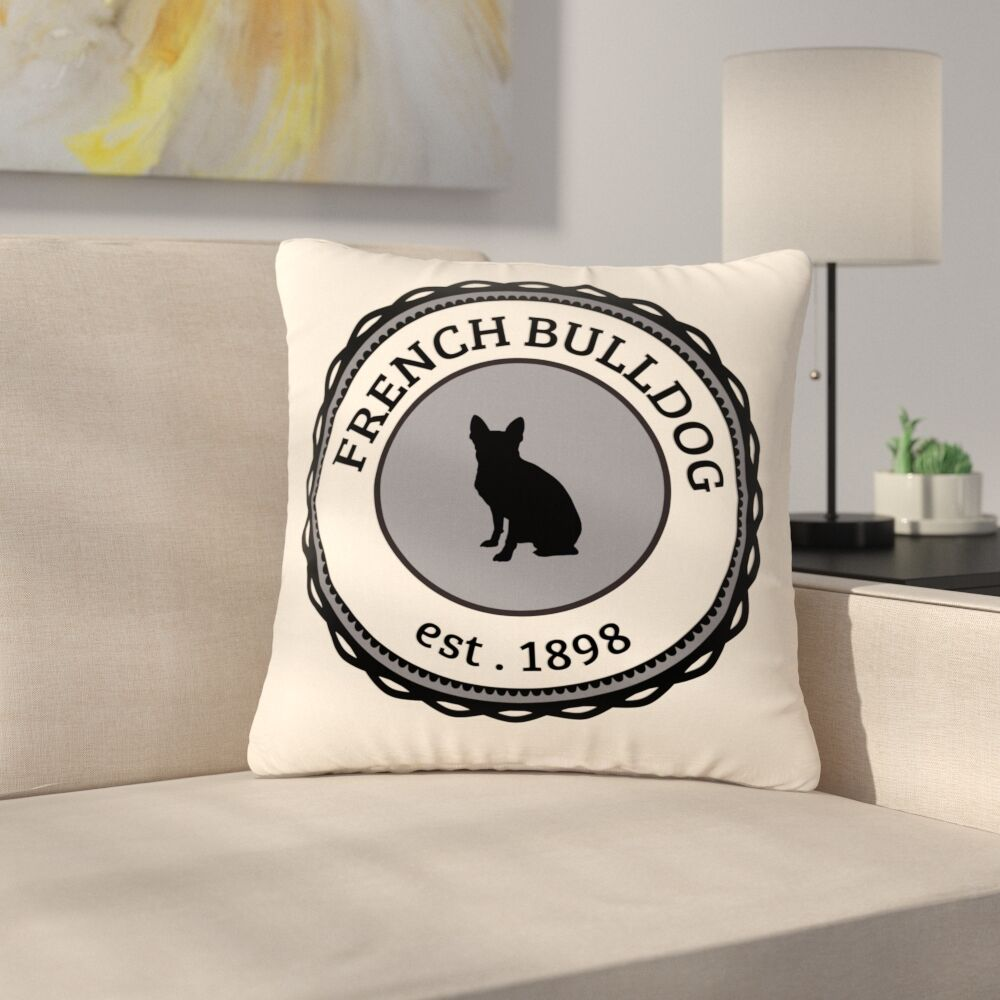 French Bulldog Dog Outdoor Throw Pillow Size: 18