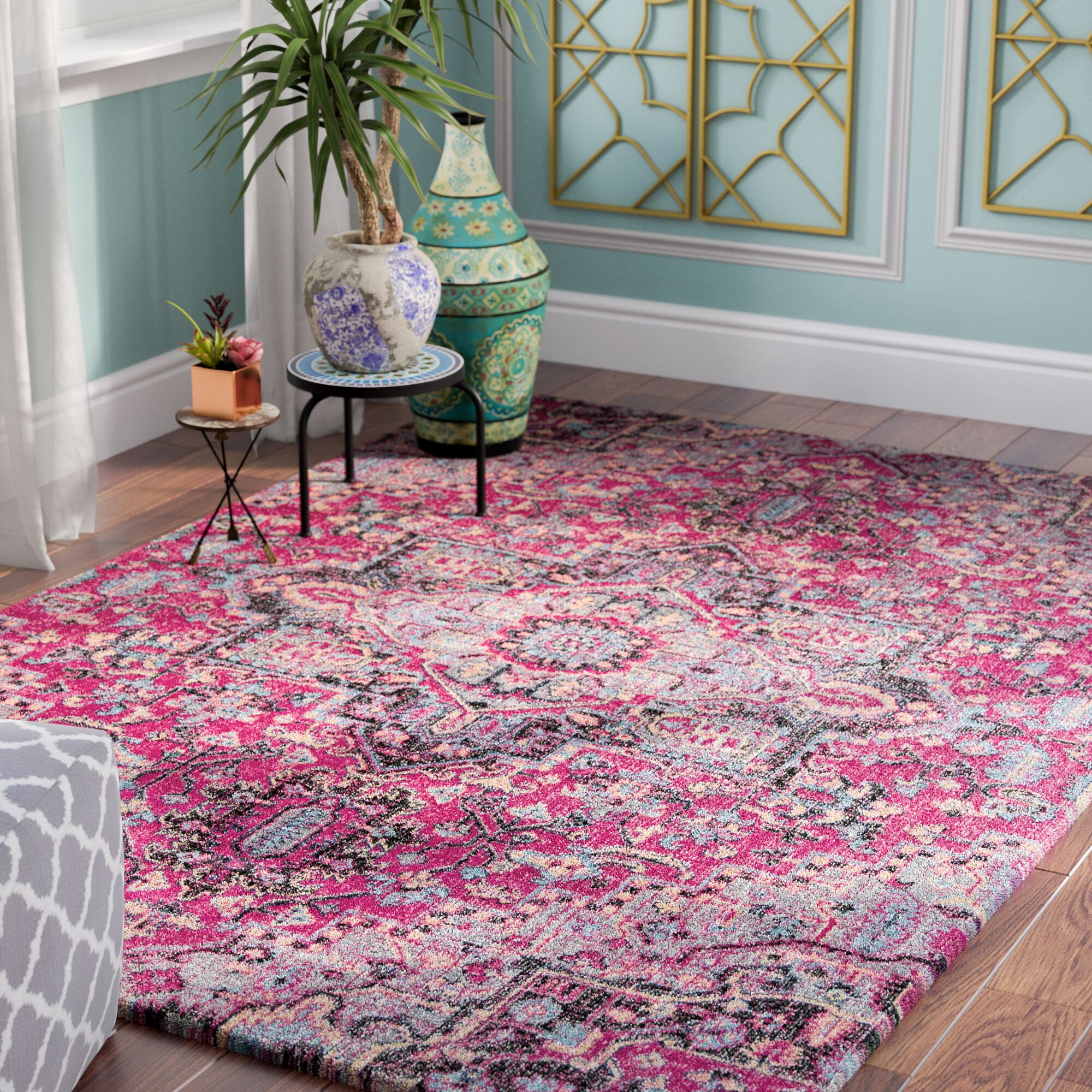 Thadine Pink Oriental Area Rug Rug Size: Rectangle 3'11