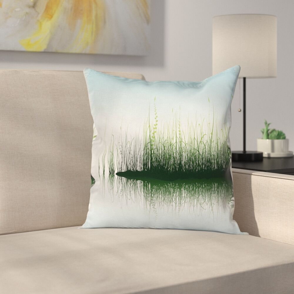Spring Time Sunset Lake Cushion Pillow Cover Size: 16