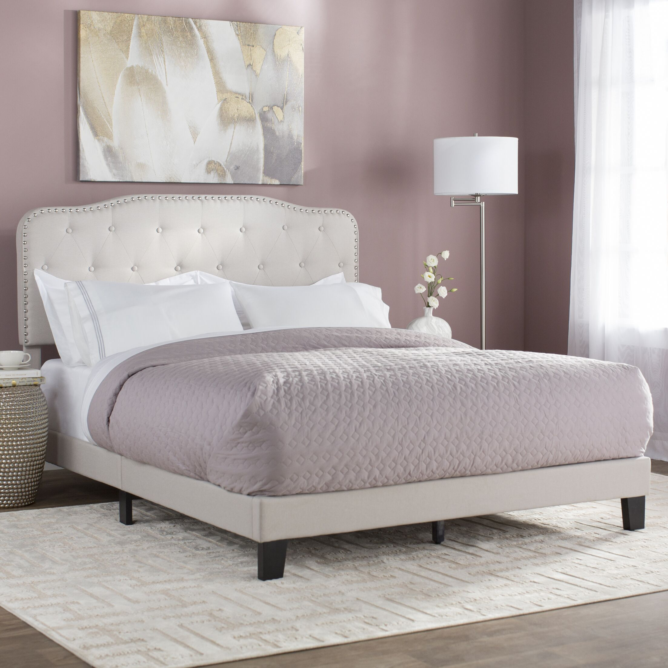 Summerhill Upholstered Panel Bed Size: Twin, Color: Fog Beige