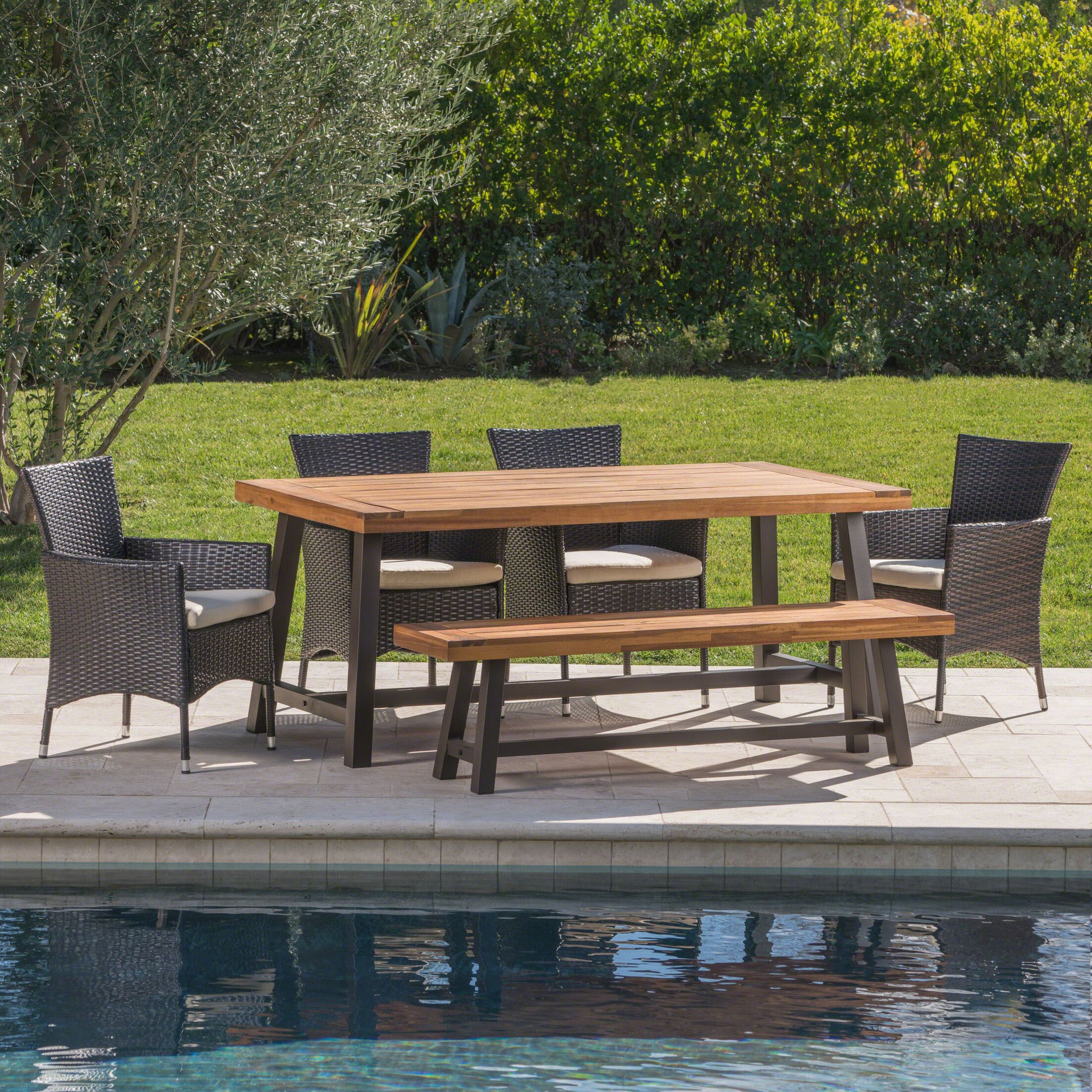Lebo Outdoor 6 Piece Dining Set with Cushions Color: Brown/Black