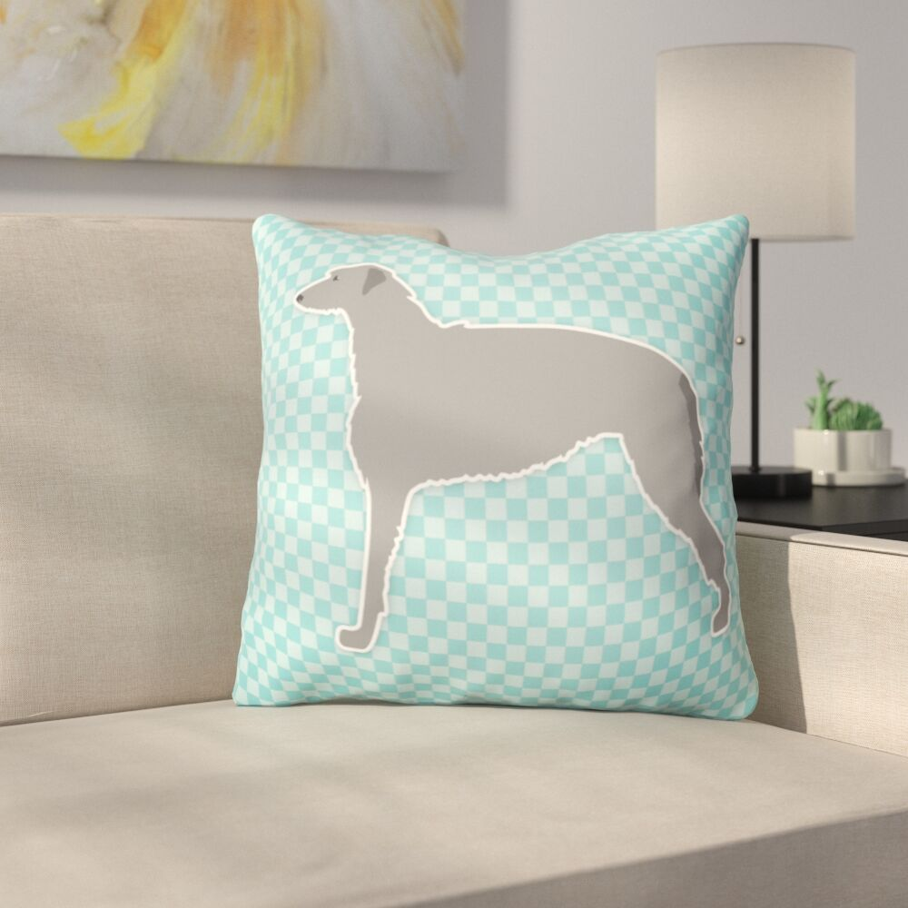 Scottish Deerhound Square Indoor/Outdoor Throw Pillow Color: Blue, Size: 18