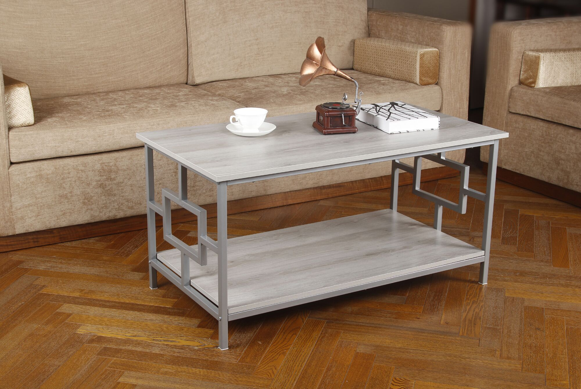 Kidwelly Coffee Table Table Base Color: Gray, Table Top Color: Oak