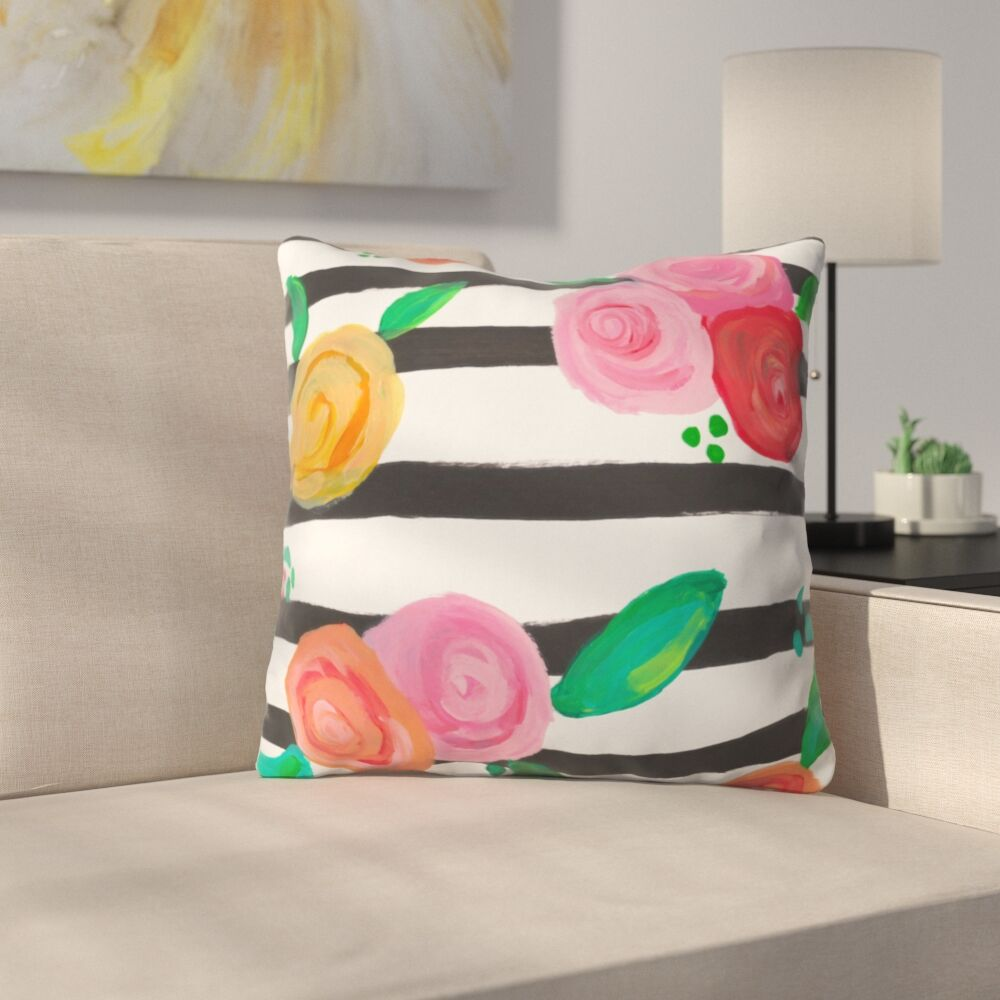 Natalie Baca Black Stripes and Blooms Throw Pillow Size: 20