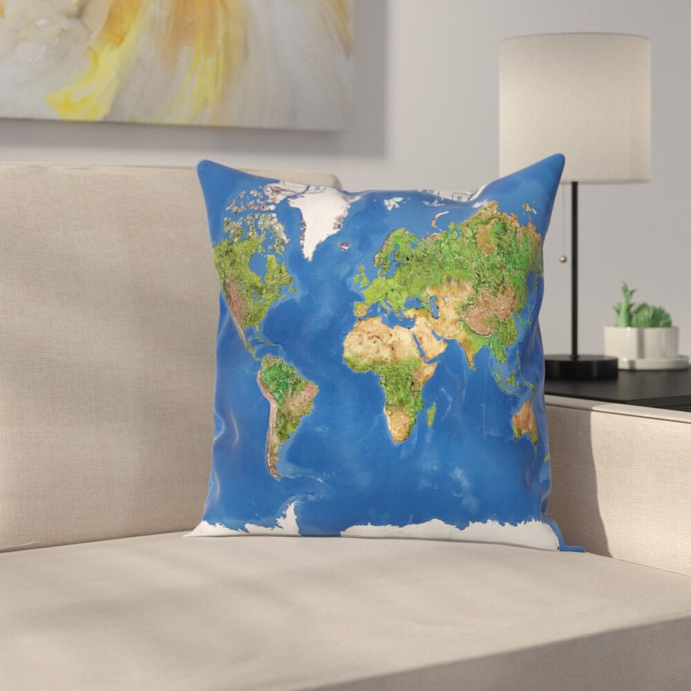 Continents Vegetation Square Pillow Cover Size: 16