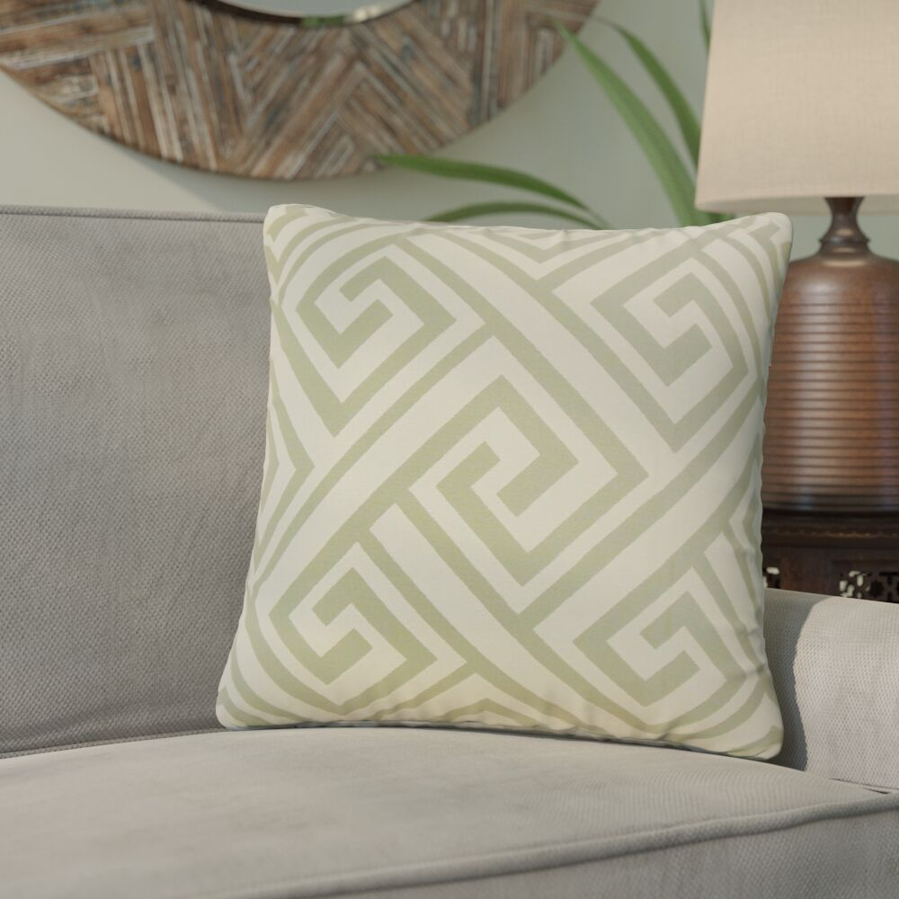 Zaire Geometric Throw Pillow Color: Celadon
