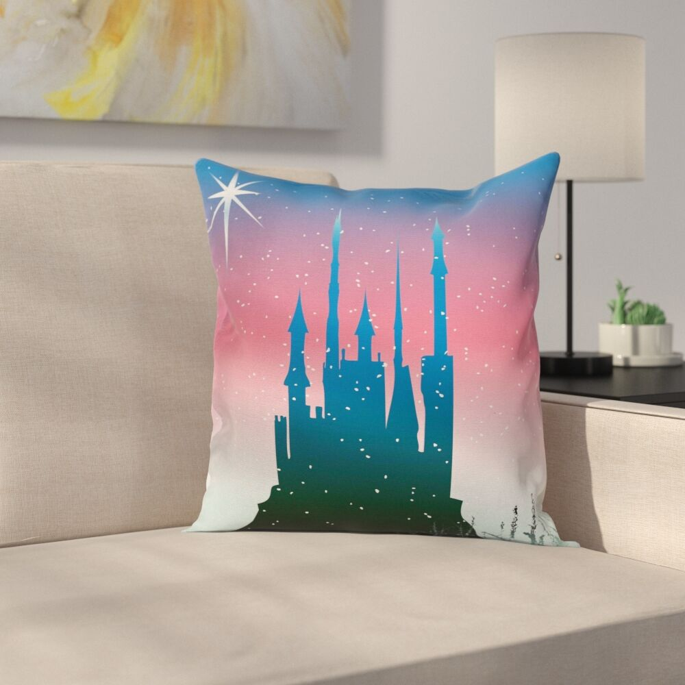 Fantasy Medieval Castle Stars Square Pillow Cover Size: 16