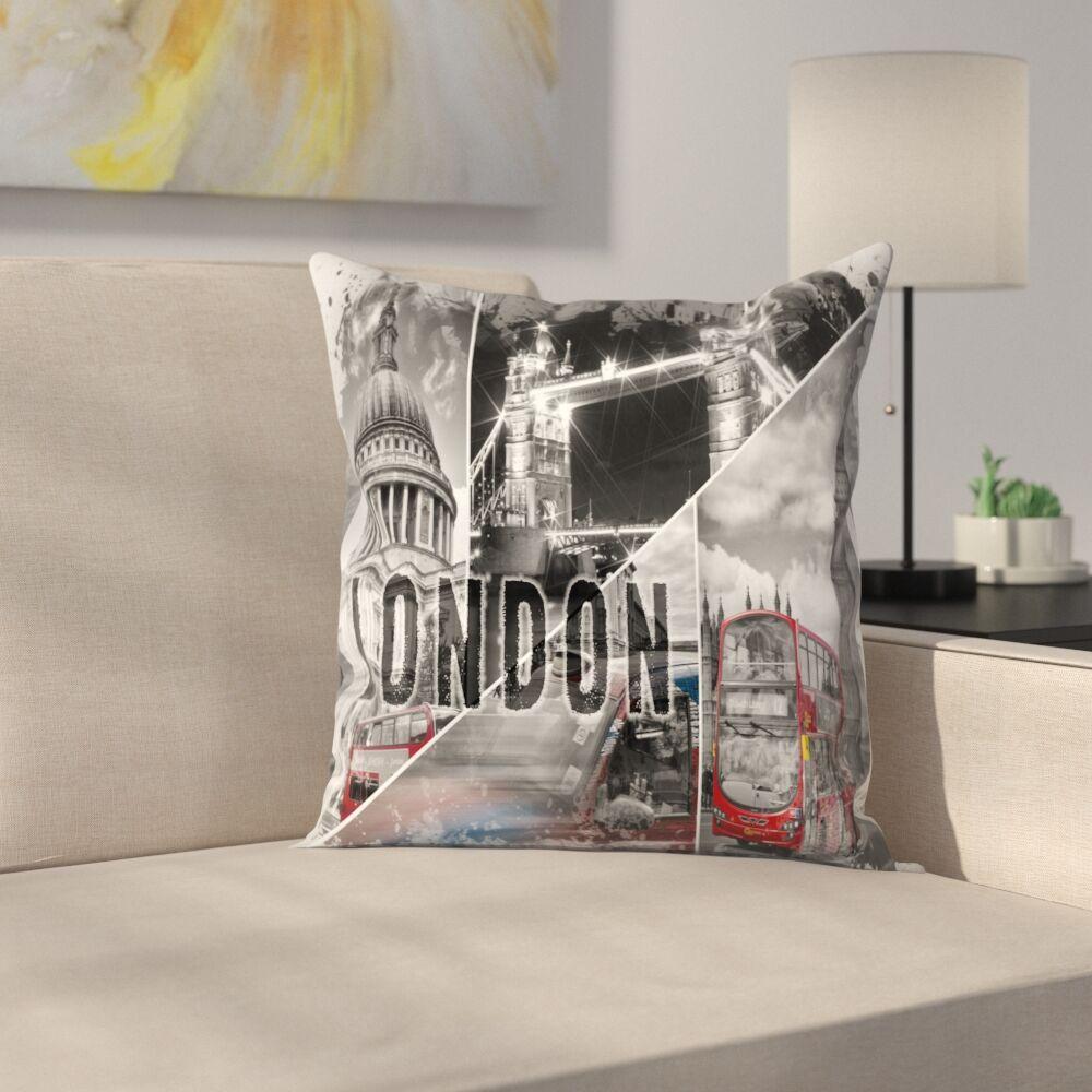 London Throw Pillow Size: 16