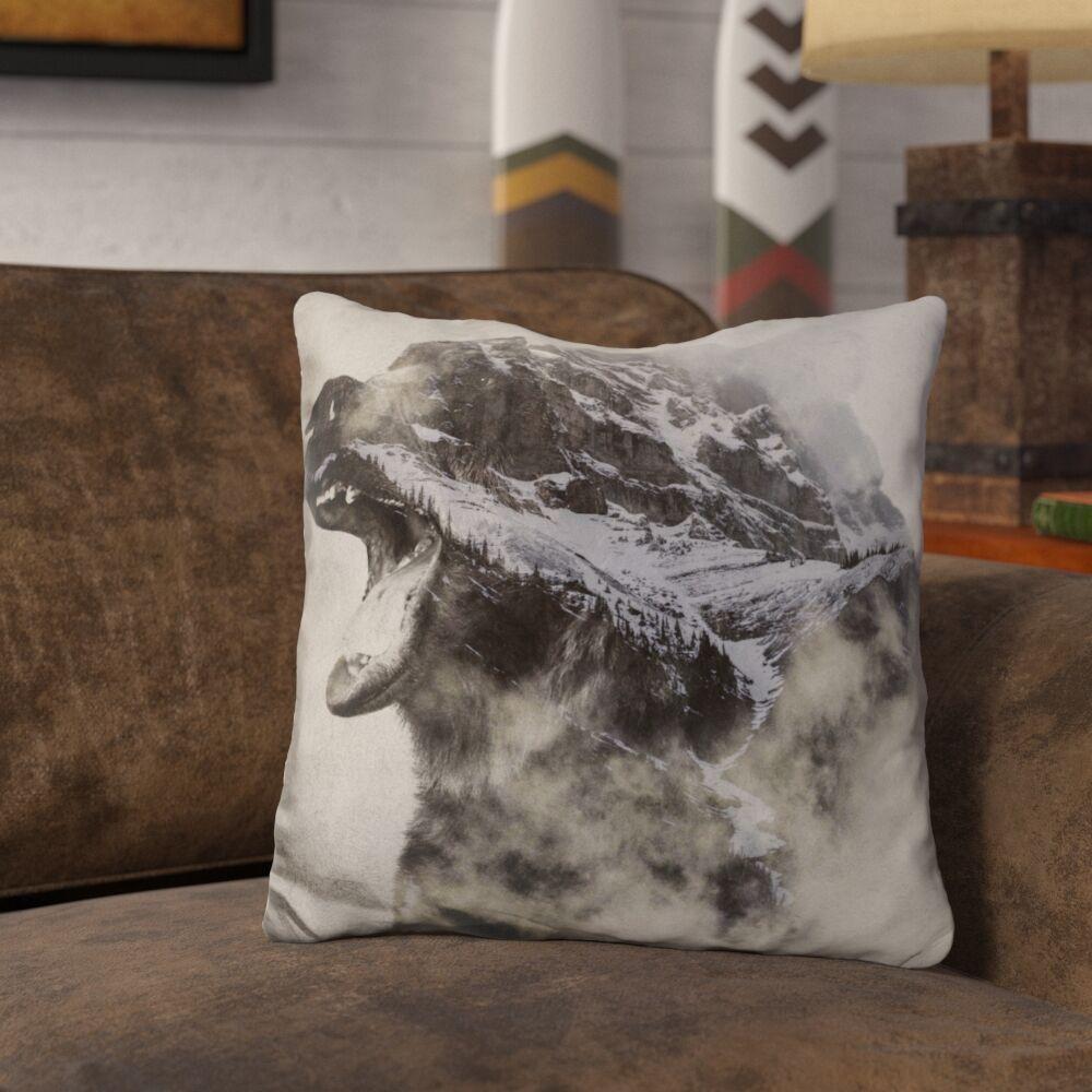 Lemanski Bear in the Fog Throw Pillow