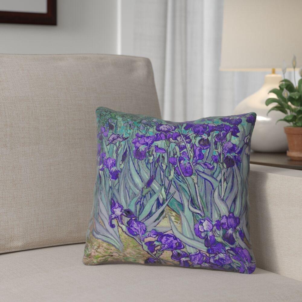 Morley Irises Square Throw Pillow Size: 18