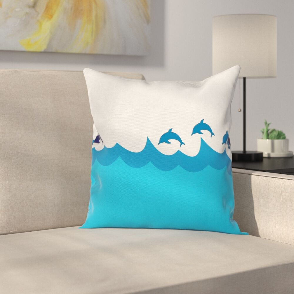 Dolphins on Waves Ocean Square Pillow Cover Size: 18