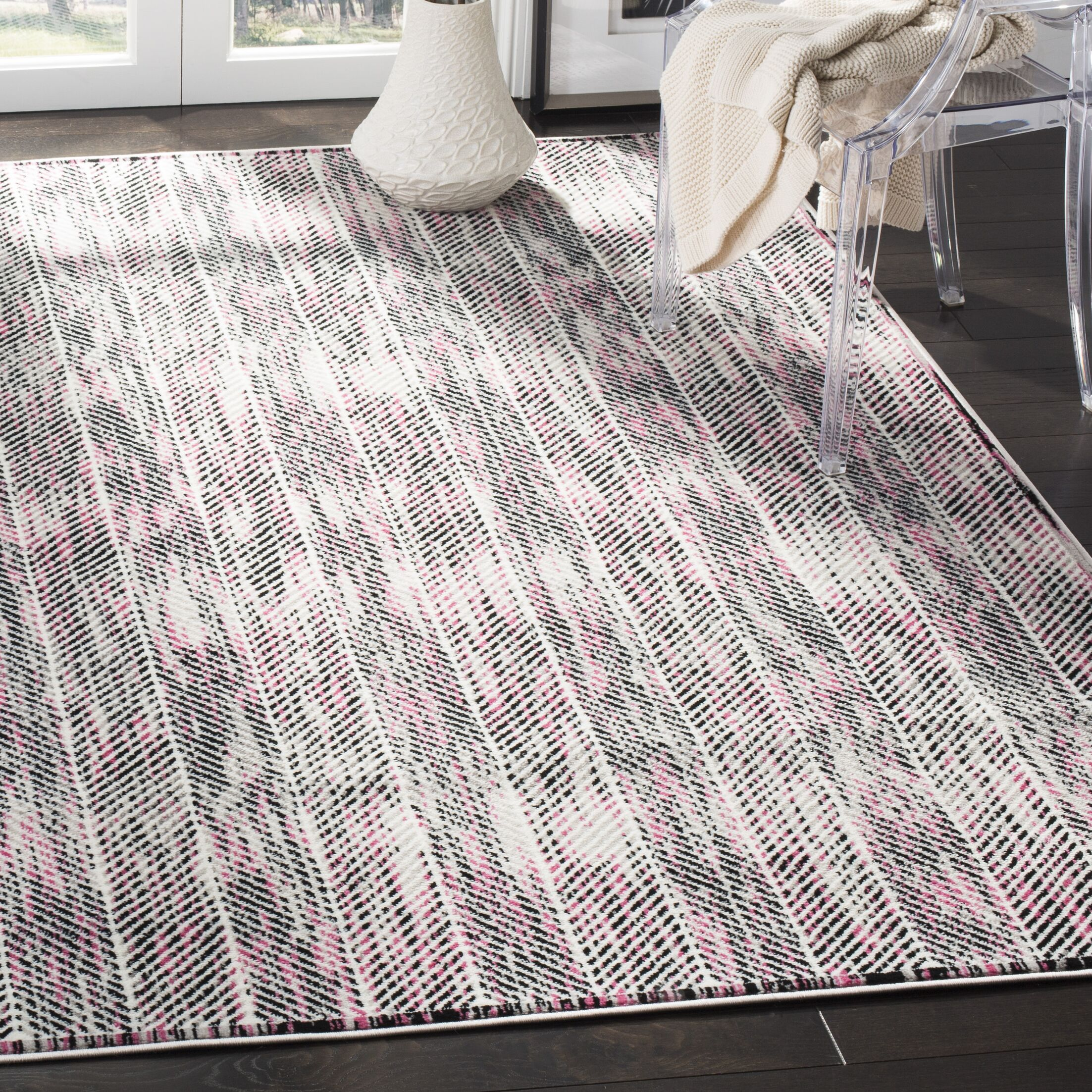 Coggin Gray/Pink Area Rug Rug Size: Rectangle 9' x 12'