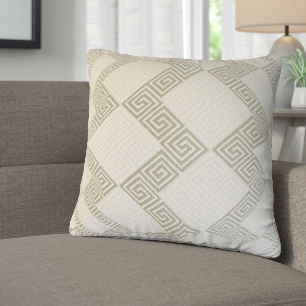 Mara Geometric Cotton Throw Pillow Color: Iron