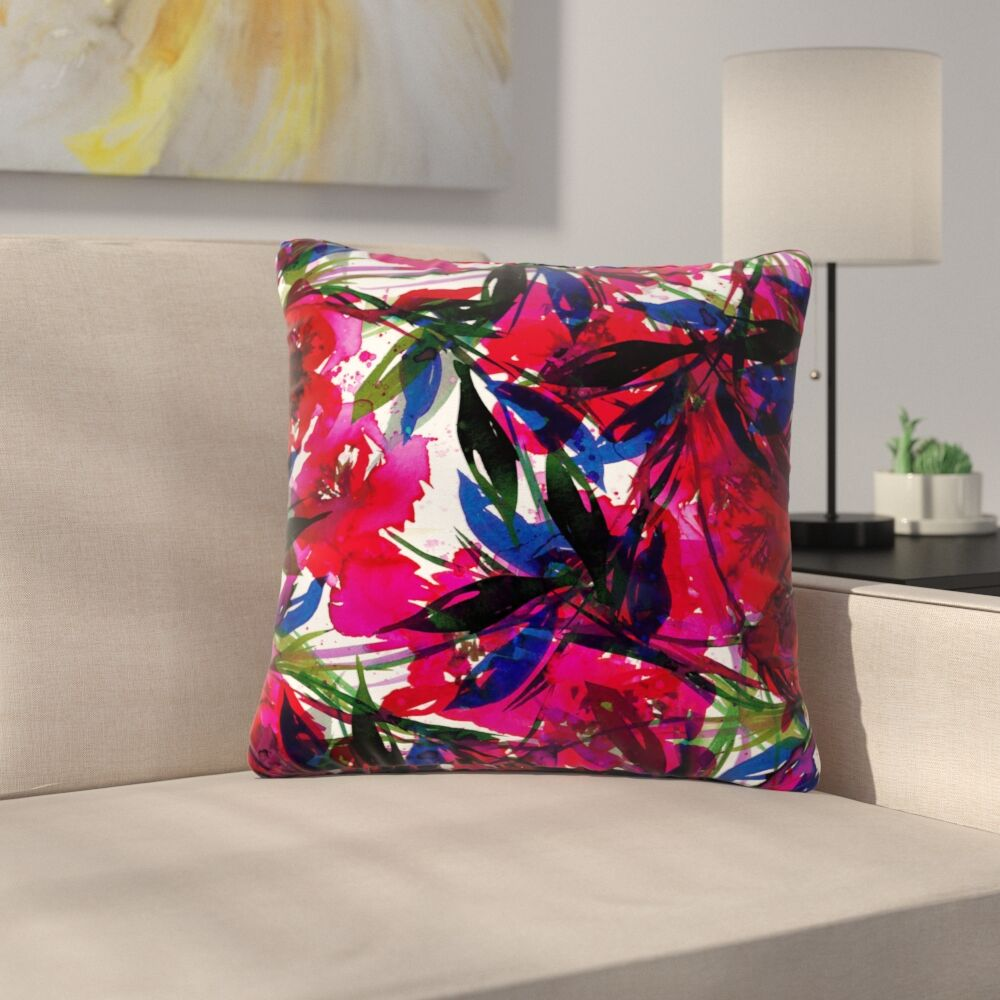 Floral Fiesta Throw Pillow Color: Red, Size: 20