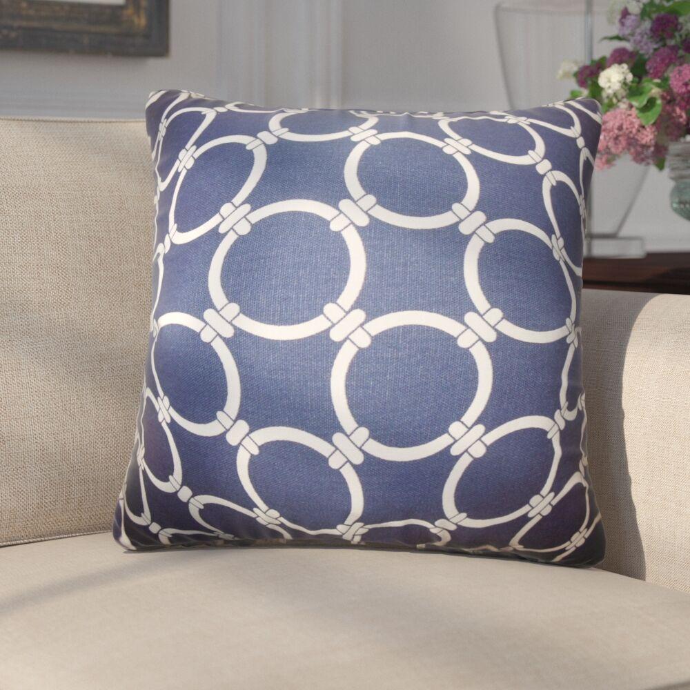 Donatella Geometric Cotton Throw Pillow Color: Blue