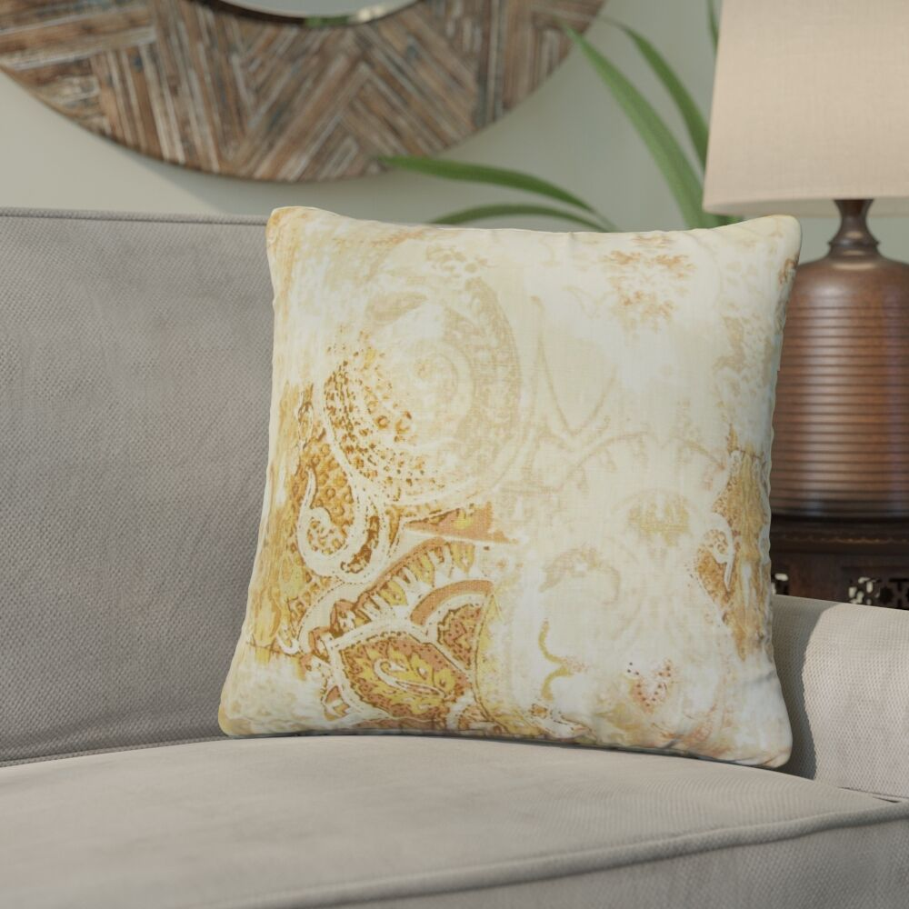 Brookview Floral Linen Throw Pillow Color: Amber