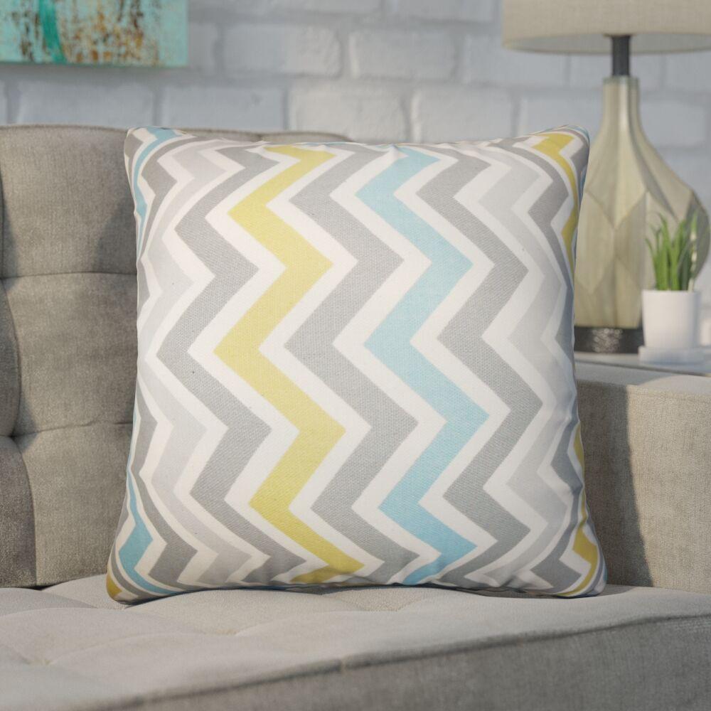 Bouck Zigzag Cotton Throw Pillow Color: Light Blue