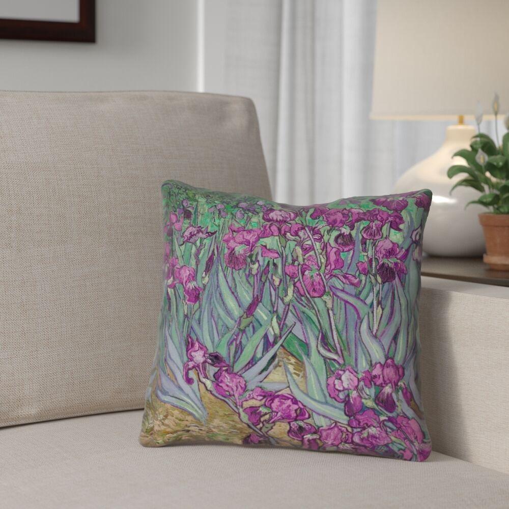 Morley Irises 100% Cotton Throw Pillow Size: 18